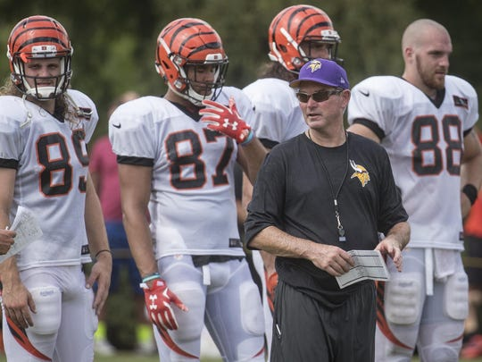 Minnesota Vikings head coach Mike Zimmer works the field Wednesday during a joint practice with the Cincinnati Bengals in Cincinnati.