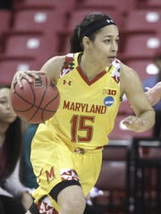 Maryland guard Chloe Pavlech, left, drives against Washington in an NCAA tournament game last March.