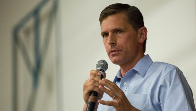 U.S. Sen. Martin  Heinrich, D-New Mexico, speaks to a crowded gym, about the Trump administration's immigration policies, during a rally Friday June 22, 2018 at Alma d'arte Charter High School.
