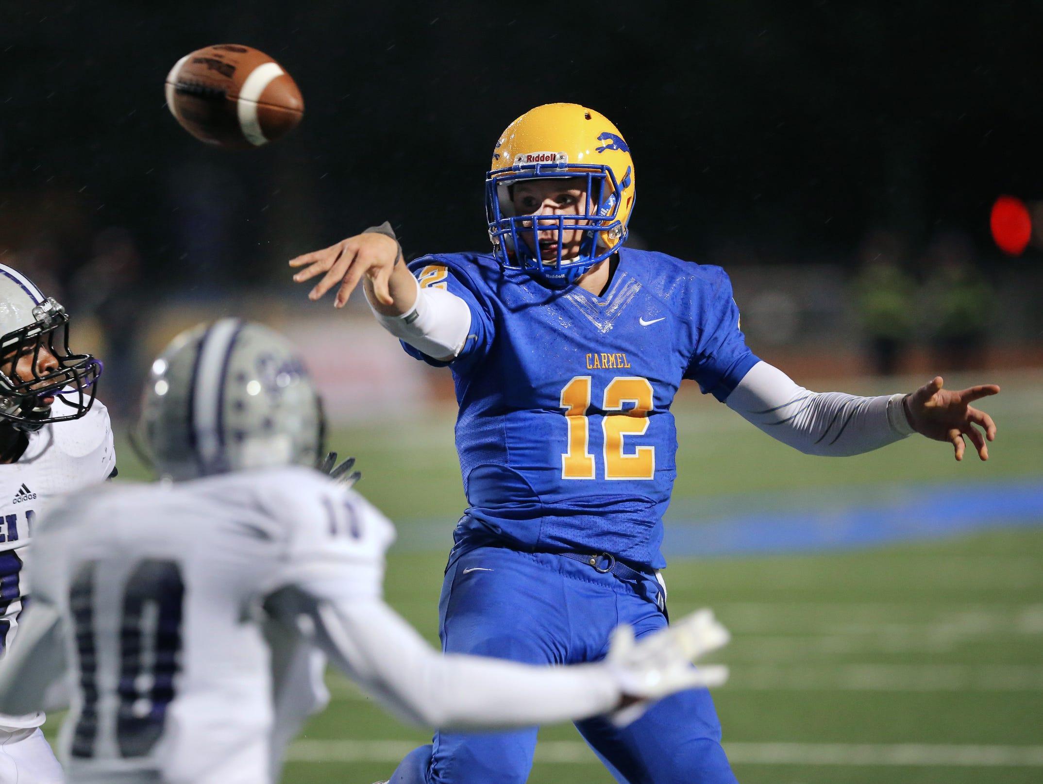 Carmel quarterback Michael Viktrup.