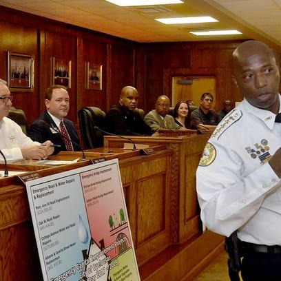 Opelousas Police Chief Donald Thompson addresses the