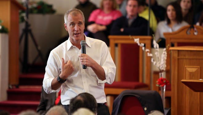 U.S. Rep. Sean Patrick Maloney answers questions at a forum Sunday in Springfield Baptist Church in Beacon.