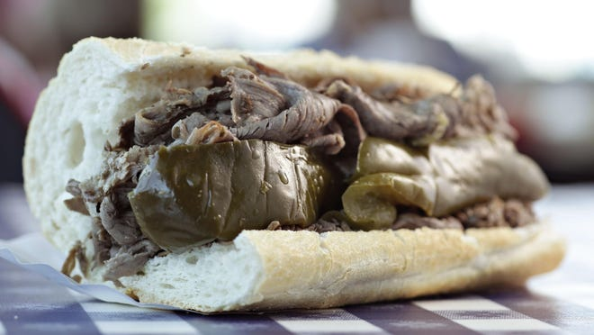 Pictured is the Italian beef sandwich at Portillo's.