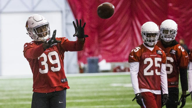 Arizona Cardinals cornerback Elie Bouka catches a ball during practice in the bubble at the Tempe training facility, Thursday, June 8, 2017.