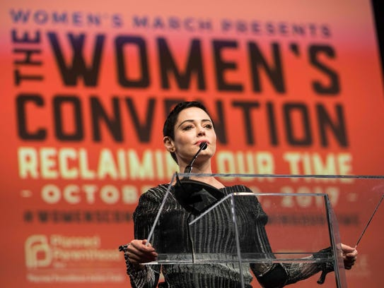 Rose McGowan speaks during during the Women's Convention