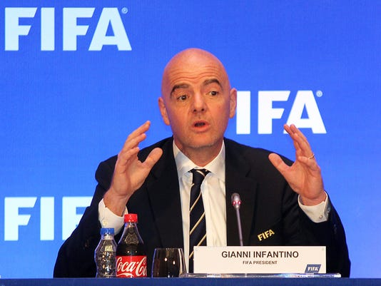 FIFA President Gianni Infantino addresses a press conference in Kolkata, India, Friday, Sept. 27, 2017. The 2018 World Cup champion will get $38 million from a prize fund FIFA has increased by 12 percent to $400 million. FIFA said Friday that each of the 32 competing national federations in Russia will get at least $8 million, the same as in 2014 when the overall prize fund was $358 million. (AP Photo)