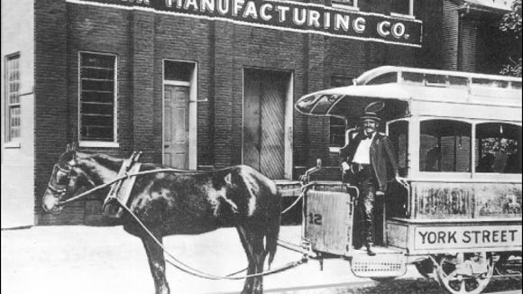 Horse Drawn Car of the York Street Railway Company in front of York Manufacturing Company on North Penn Street (Collections of S. H. Smith; Company History Brochure of York International Corporation, 1994)