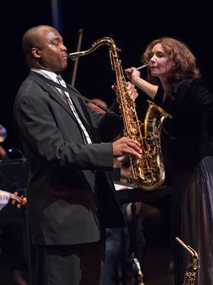 James Carter, saxophone, and Sarah Ioannides, conducting the Cincinnati Chamber Orchestra