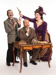 "From left: Stephen Quint, Matthew Wages and Cáitlín Burke  in a rehearsal scene from the new production of ""The Mikado."""