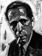 This acrylic and charcoal work depicting Humphrey Bogart