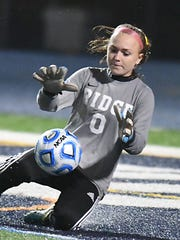 Ridge keeper Alexandra Lindsay makes a nice save in the 2nd half vs. Freehold Twp. Girls Soccer Group 4 final between Freehold Twp and Ridge(Larry Murphy | For the Press)