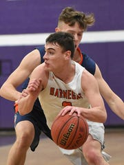 Barnegat's Mike Revello drives to the basket. Barnegat vs. Fort Hamilton Boys basketball. (Larry Murphy | For the Asbury Park Press)