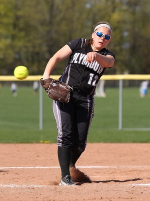Plymouth senior pitcher Mikayela Marciniak delivers a pitch doing a 2014 game. She continues to be one of the Wildcats' prime-time performers.