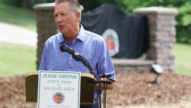 Ohio Governor John Kasich speaks during the dedication of Jesse Owens State Park near McConnelsville on Tuesday.
