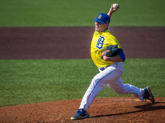 Delaware's Ron Marinaccio delivers a pitch in the University of Delaware's 17-4 win over College of Charleston at Bob Hannah Stadium in Newark on Thursday afternoon.