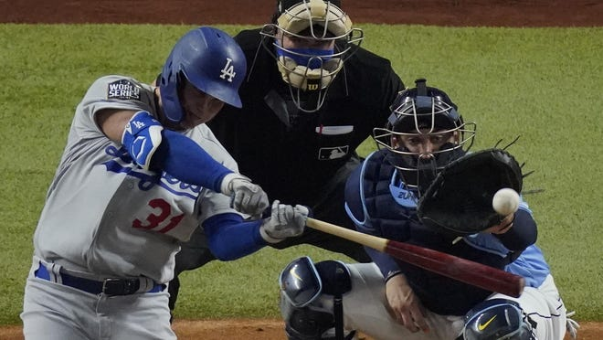 Los Angeles Dodgers' Joc Pederson hits home run in Game 5 of the World Series in Arlington, Texas.