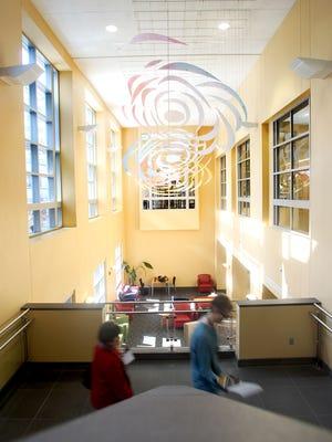 Sunlight floods the Iowa City Public Library on Friday, February 17, 2012. The Iowa City Public Library is recognized as the most used library per capita in Iowa. Benjamin Roberts / Iowa City Press-Citizen