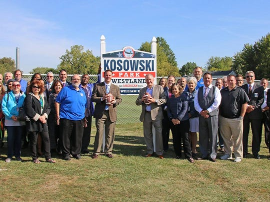 The recent dedication ceremony at Kosowski Park in Westland.