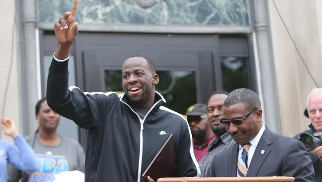 A Championship Homecomming Parade was held for Draymond Green former Michigan State Spartan and now NBA Champion Golden State Warrior on Saturday, June 27, 2015 in his home town of Saginaw Michigan.