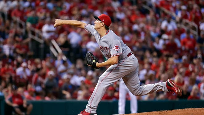 Cincinnati Reds starting pitcher Homer Bailey (34) throws during the first inning of a baseball game against the St. Louis Cardinals, Friday, Aug. 31, 2018, in St. Louis. (AP Photo/Tim Spyers)