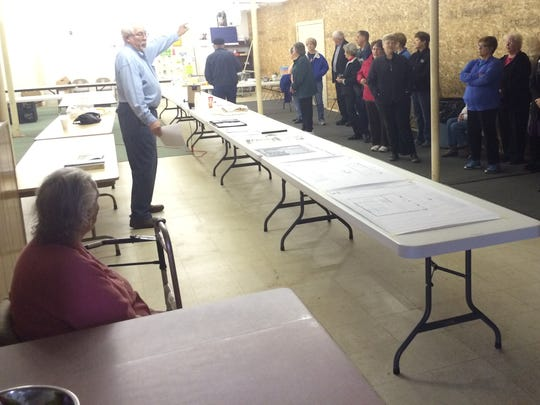 Tahn Grosse, chairman of the board of directors for Interfaith Food Pantry of Portage County, speaks during a ceremony marking the start of construction for a new facility for the non-profit organization in the village of Plover on Monday, Oct. 26, 2015,