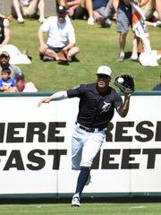 Detroit Tigers outfielder JaCoby Jones fields a ball