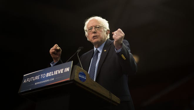 Vermont Sen. Bernie Sanders makes a speech to supporters during a campaign rally on Feb. 28, 2016, in Oklahoma City.