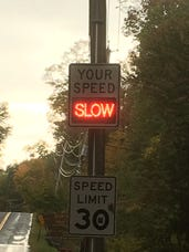 Pictured is a Speed Display Unit on Watch Hill Road. State police are looking for a similar one that was stolen from a utility pole on Kings Ferry Road.