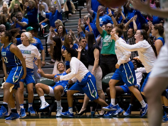The FGCU bench erupts after a run is made and Stetson is forced to call a timeout in the second half of action during the Atlantic Sun championship game at the Edmunds Center Sunday, March 12, 2017 in DeLand, Fla.