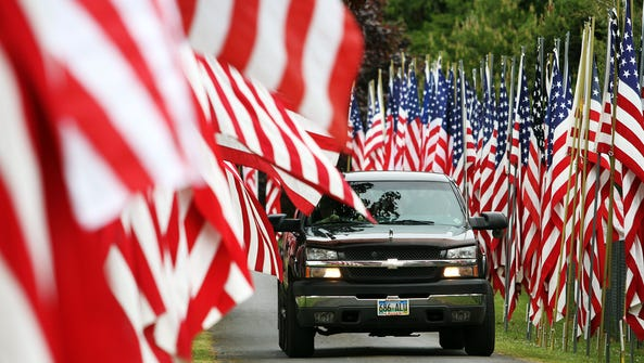 A display of flags is part of the annual Memorial Day