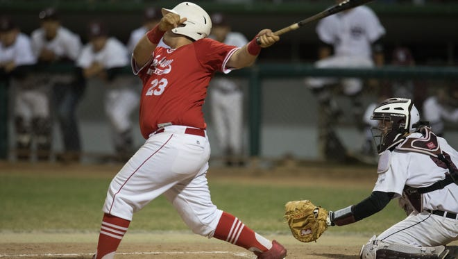 Robstown's Marco De Los Sanos batts during the fourth  inning of their game against Sinton in Sinton on Monday, April 10, 2017.