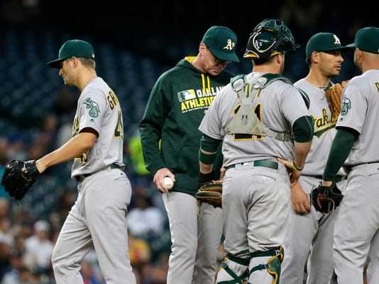 Oakland Athletics starting pitcher Kendall Graveman, left, walks off the mound after he was pulled from a baseball game against the Seattle Mariners by manager Bob Melvin, second from left, during the fifth inning, Tuesday, May 24, 2016, in Seattle. (AP Photo/Ted S. Warren)