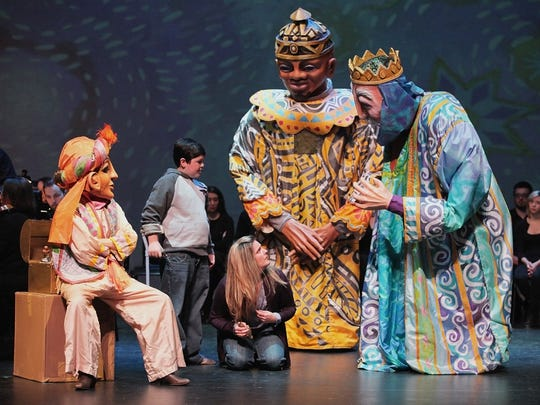 """Amahl, sung by Eric Riedel, and his Mother (Kathryn Leemhuis) with the Page and two of the Magi in """"Amahl and the Night Visitors"""""""