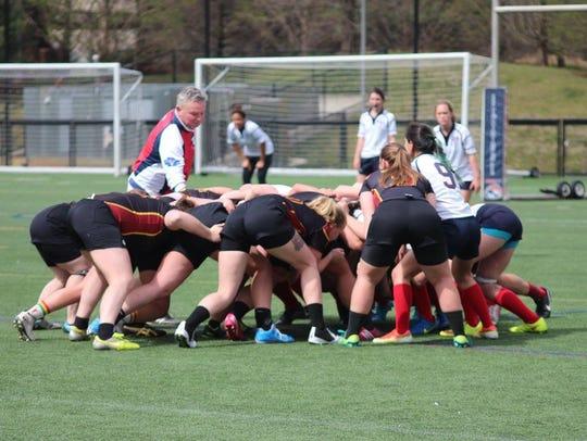 The Salisbury women's club rugby team battles in a