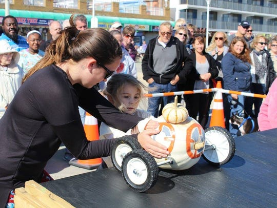 The Great Pumpkin Race happens on Saturday Oct. 27, at 1 p.m. on the Boardwalk near North Division Street.