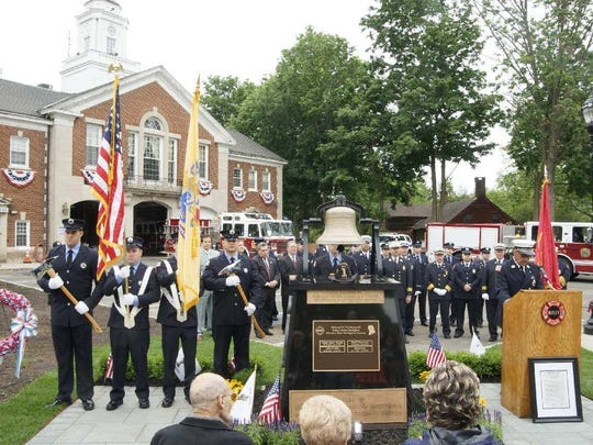 The Nutley Fire Department dedicates the township's firefighters memorial on May 28, 2018.