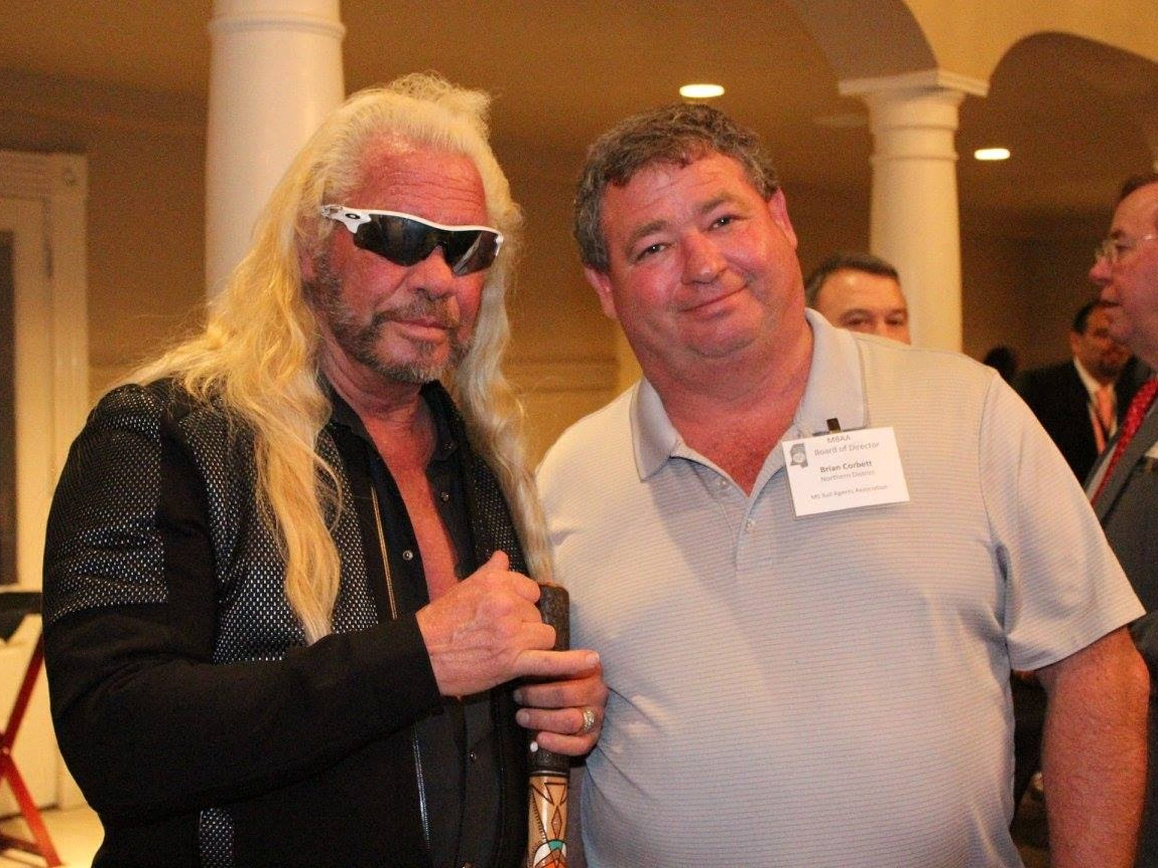 Brian Corbett, right, poses for a photo with Dog the Bounty Hunter. Corbett has 73 percent of the bail business in Lee County and 84 percent in neighboring Union County.