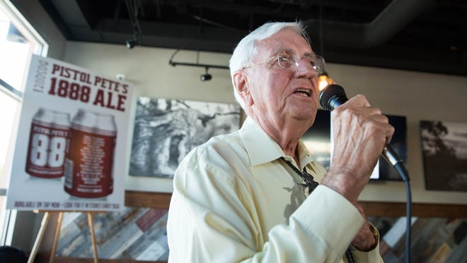 "Garrey Carruthers, the New Mexico State University President, introduced the new ""Pistol Pete's 1888 Ale"" a beer brewed by Bosque Brewing Co. in conjunction with the NMSU. The beer is on tap at Bosque Brewings taproom and will be available in cans in early 2018. Thursday Aug. 17, 2017."