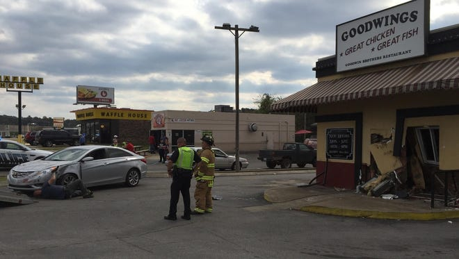 A driver crashed into the front of Goodwings on Thursday afternoon.