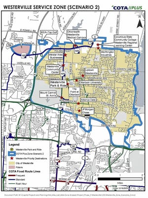 This map shows the proposed service area for COTA Plus in Westerville.