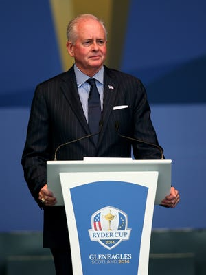 Ted Bishop, PGA of America President, speaks on stage during the Opening Ceremony ahead of the 40th Ryder Cup at Gleneagles on September 25, 2014 in Auchterarder, Scotland.  He was removed from the position Friday.