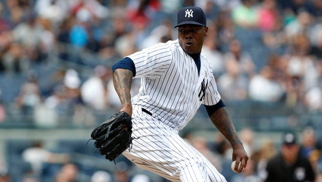 Aroldis Chapman re-joined the Yankees after a July trade when they signed him to an $86 million deal.