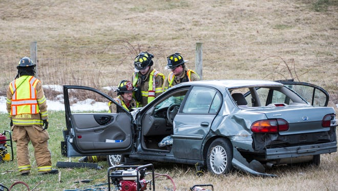 Emergency crews responded to a single vehicle crash in the  200 block of south Butler Road in West Cornwall Township on Thursday, Feb. 16, 2017.