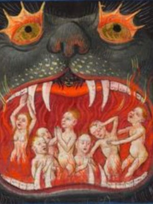 Hellmouth images, popular up through the Middle Ages, welcome the unfortunate citizenry into their fearsome portals - hotspots with no return tickets available.