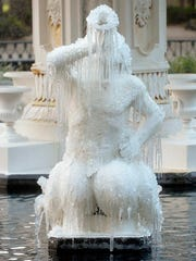 Icicles form on the tritons in the Forsyth Park Fountain , Jan. 2, 2018, in Savannah, Ga.