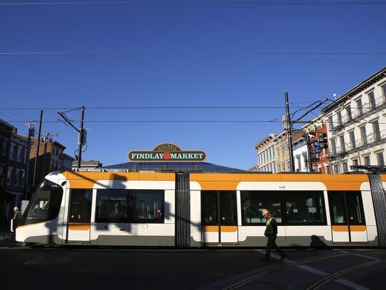 Cincinnati's streetcar during testing last fall.