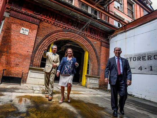 Prattville Mayor Bill Gillespie, Jr., from left, U.S. Rep Martha Roby and Sen. Clyde Chambliss tour the old Daniel Pratt Gin Shop in Prattville, Ala., on Thursday August 31, 2017.