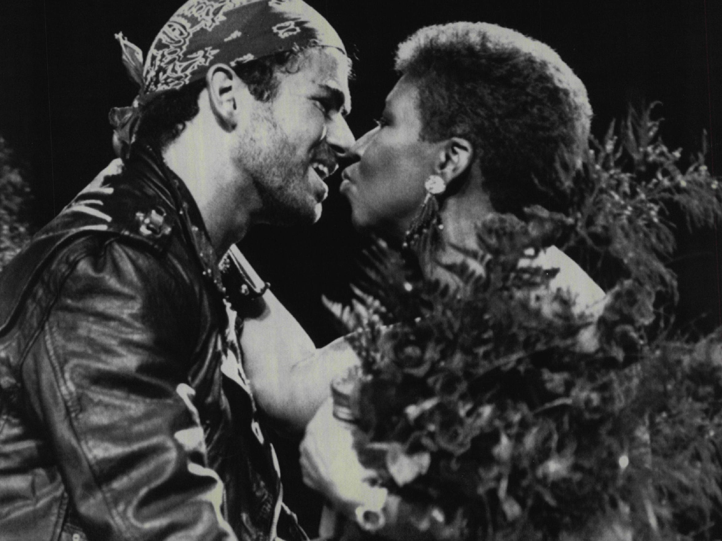 "Aretha Franklin joins George Michael during his Faith World Tour Stop at The Palace in Auburn Hills in 1988. The duo sang their Grammy winning hit, ""I Knew you were waiting (for me)"" -- their first performance together in concert."