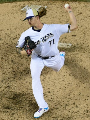 Milwaukee Brewers reliever Josh Hader throws during the eighth inning of the MLB All-Star Game Thursday night in Washington, D.C.