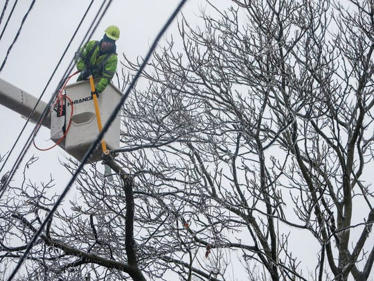 William Blankenship, of Wright Tree Service, cuts tree limbs coated in ice away from power lines on Mount Vernon Street on Friday, January 13, 2017.